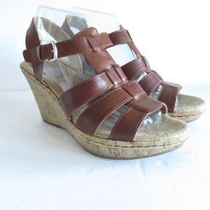 Born BOC Cork Wedge Sandals Leather